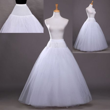Zimtown 1 Hoop 3 Layer Bridal Bride Gowns Slip Crinoline Prom Petticoat Crinoline Long Wedding Dress - Prom Queen Halloween Fancy Dress