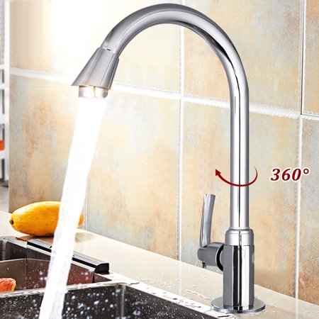 Clearance ❤ 360 Degree Stainless Steel High Arch Gooseneck Spout Single Handle Sink