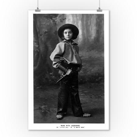 Cowgirl Portrait - Miss Rita Leggiero Holding a Knife (9x12 Art Print, Wall Decor Travel Poster)