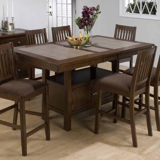 Jofran Chadwick Counter Height Table With Corner Bench And: Jofran Trumbull Tile Top Counter Height Storage Dining
