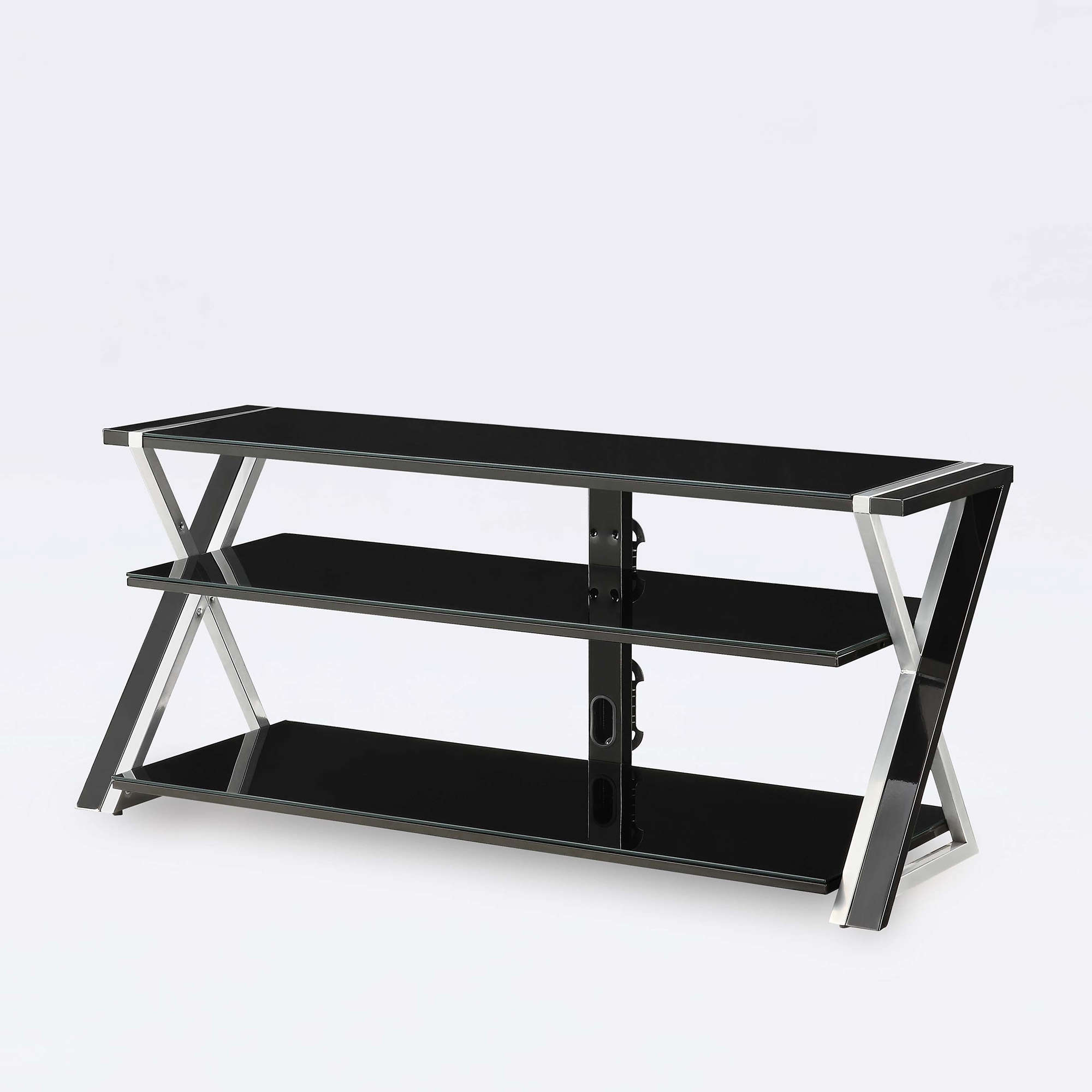 "Whalen Black TV Stand for 65"" Flat Panel TVs with Tempered Glass"