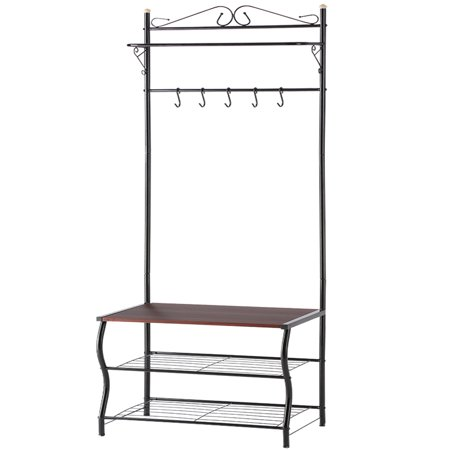 Coat Rack Stand, LANGRIA 3-in-1 Hall Tree Entryway Bench with Coat Stand 3-Tier Shoe Bench, Storage Shelves Bench 5 Hook Accent Furniture Metal Frame, Easy
