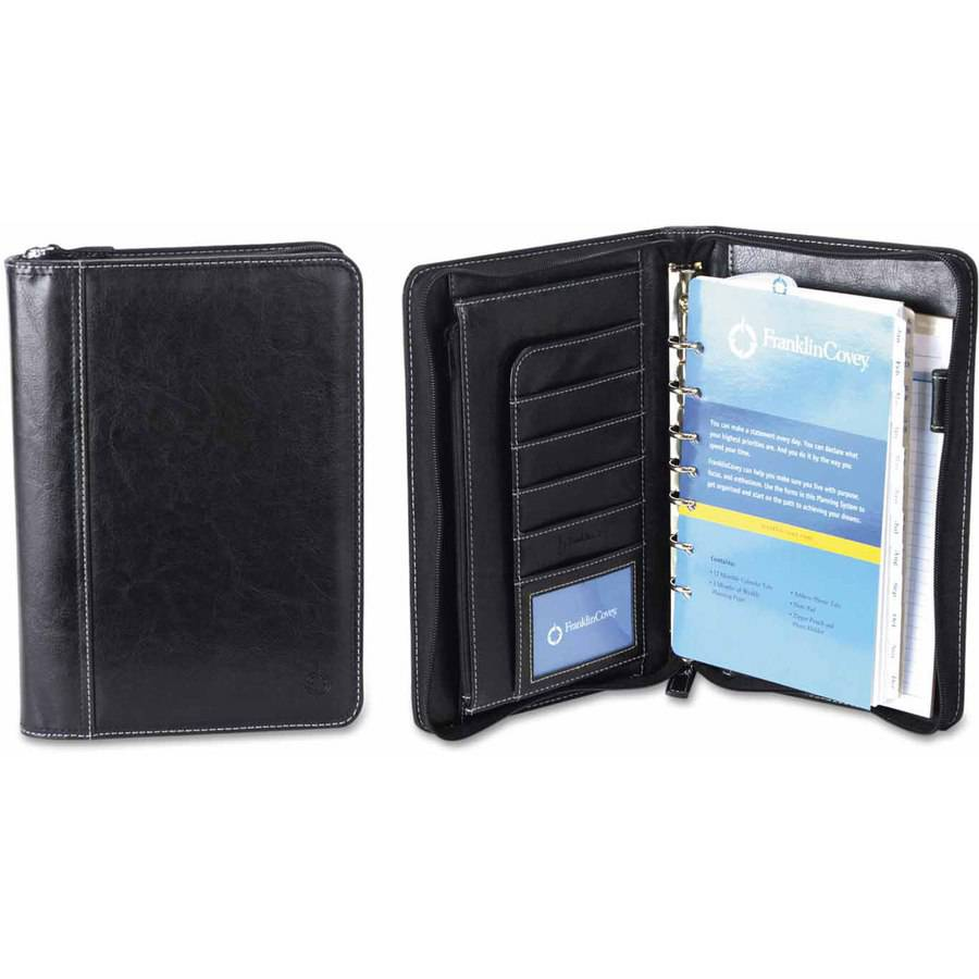 "FranklinCovey Vinyl Ring Bound Binder Organizer Set, Zip-Around Closure, 9-1/2"" x 7-1/2, Black"