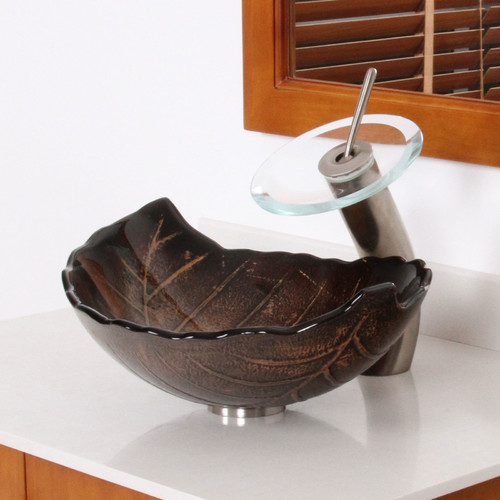 Elite Hot Melted and Hand Painted Glass Autumn Leaf Shaped Bow Vessel Bathroom Sink