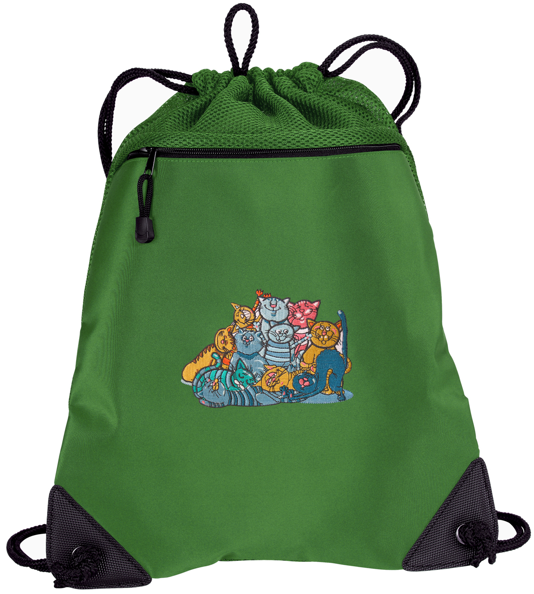 Cat Drawstring Bags Crazy Cat Cinch Backpacks - Unique Mesh & Microfiber