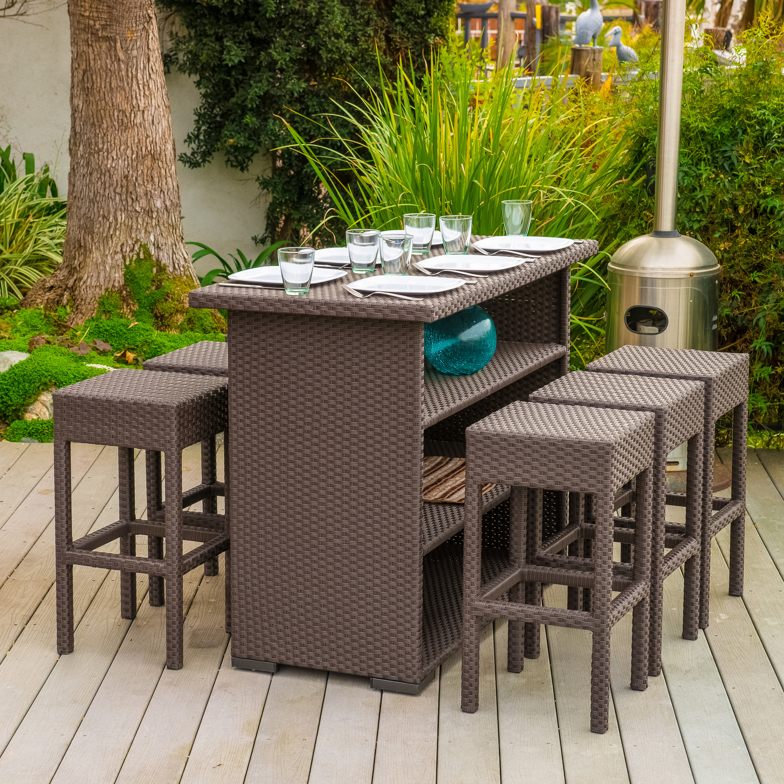 Marcel Outdoor 7-piece Brown Wicker Bar Set