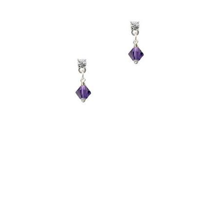 Purple Velvet - 6mm Crystal Bicone Clear Crystal Post Earrings ()
