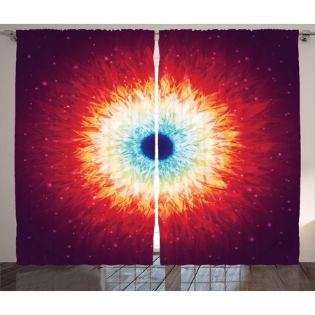 Space Curtains 2 Panels Set, Galaxy with Stars and Black Hole Mysterious Celestial Magic Astral Universe View, Window Drapes for Living Room Bedroom, 108W X 84L Inches, Orange Blue, by Ambesonne