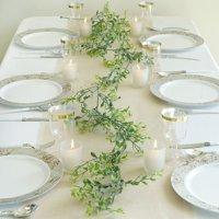 Efavormart 2 Pack | 9 FT Frosted Green Artificial Leaf Garland For Wedding Decor