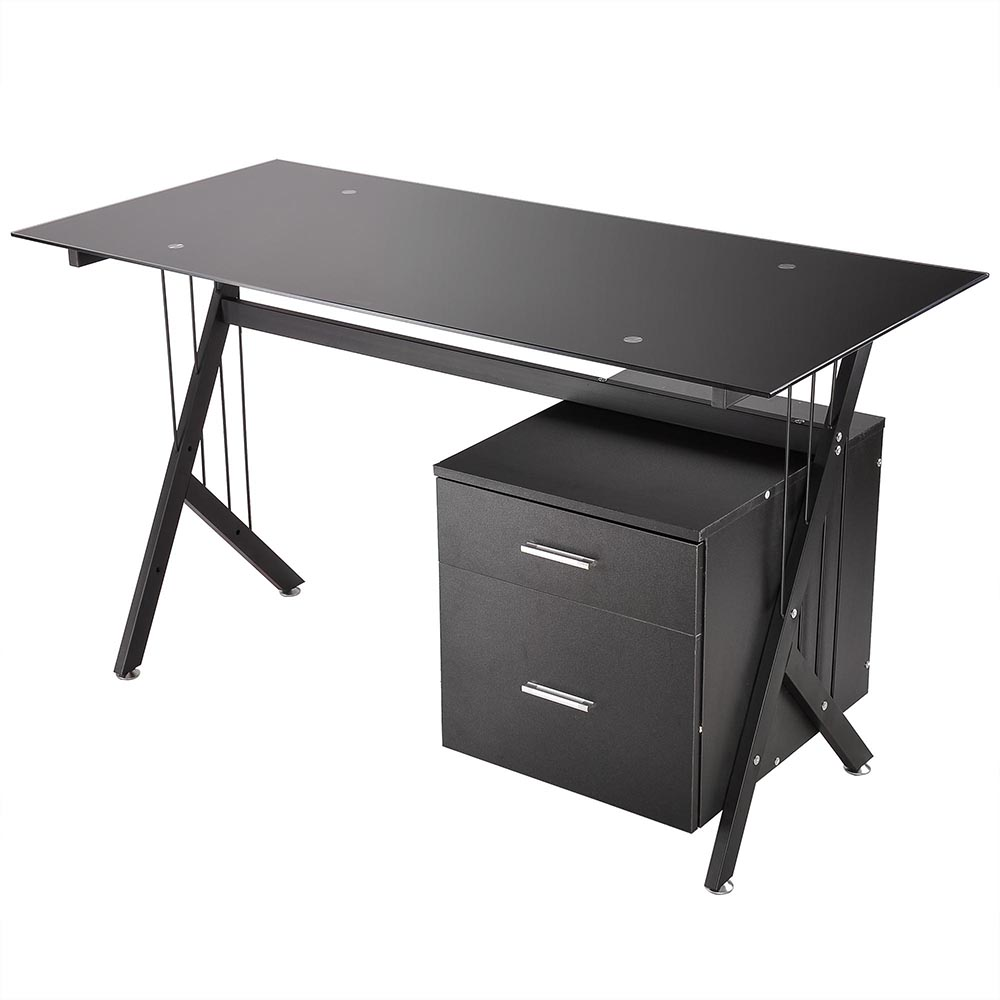 Yescom Tempered Glass Computer Desk 2 Drawers PC Laptop Table Workstation Home Office