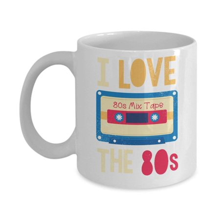 I Love The 80s Mix Cassette Tape Distressed Coffee & Tea Gift Mug, 80 s Themed Gifts for Men & Women - 80s Themed Food Ideas