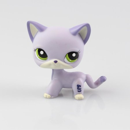 Halloween Cat Mask And Ears (Littlest Pet Toys Shorthair Kitten Cat LPS Rare Standing Cat Mask Short Hair for Kids Gift (Purple, Green Eyes, White Ears))