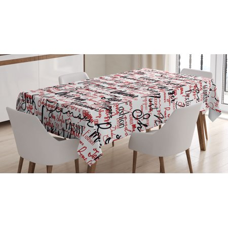 Modern Decor Tablecloth, Ink Handwritten Popular Country Capitals with Fashion Fancy Words Art, Rectangular Table Cover for Dining Room Kitchen, 60 X 84 Inches, Red Black and White, by Ambesonne