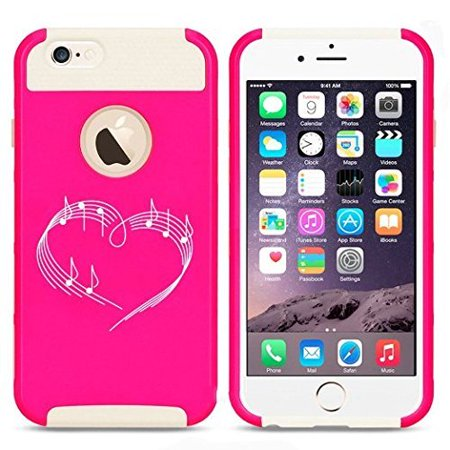Apple iPhone 6 6s Hybrid Shockproof Impact Hard Cover / Soft Silicone Rubber Inside Case Heart Love Music Notes (Hot Pink/White),MIP - Music Note Hat