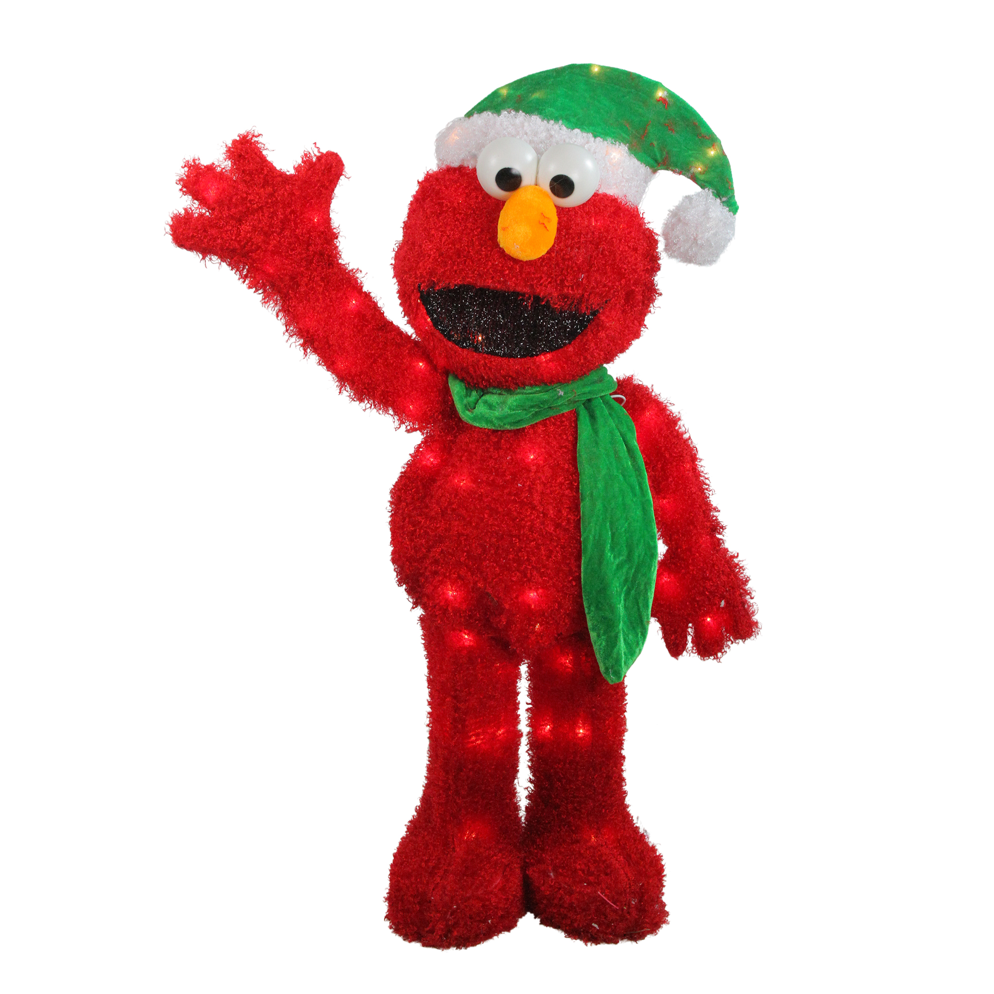 "32"" Pre-Lit Soft Faux Fur Sesame Street Elmo Christmas Decoration - Clear Lights"