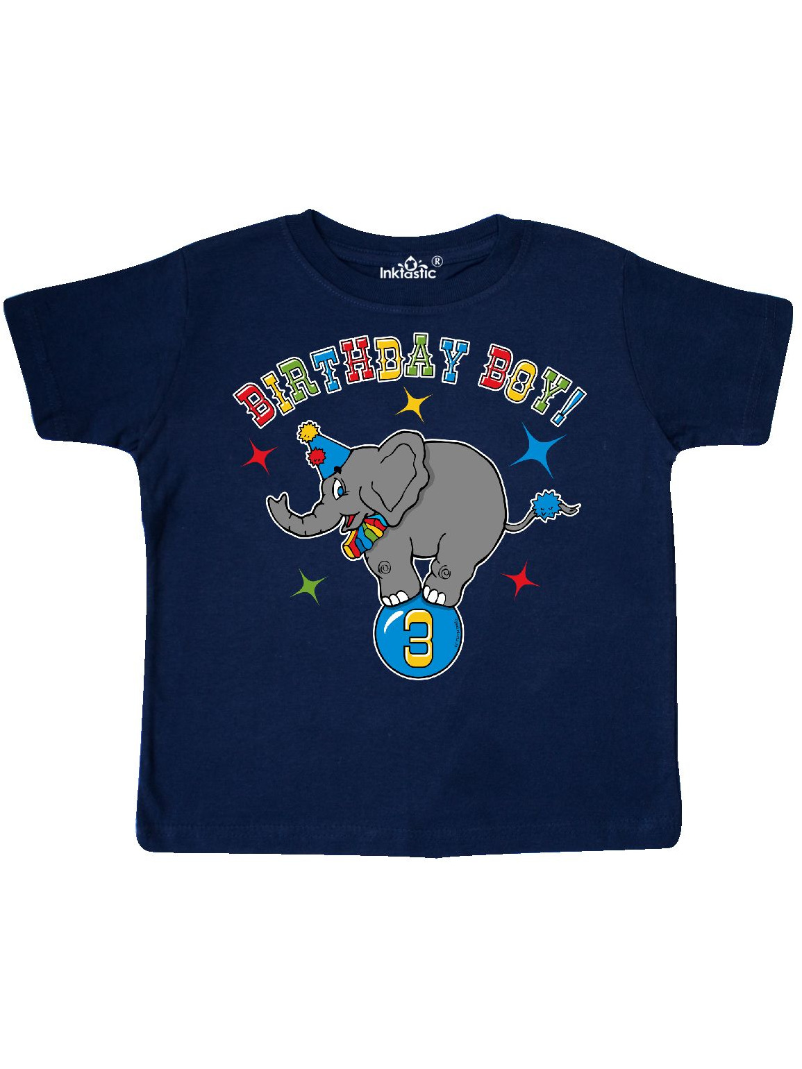 Circus Elephant 3rd Birthday Boy Toddler T Shirt