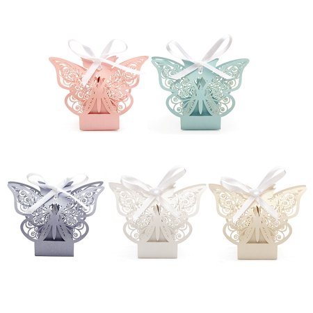 Meigar 10Pcs Paper Butterfly Cut Candy Cake Boxes Wedding Party Gifts Favor Case Graduation Cake Decorating Supplies Christmas Gift (Decorating Ideas Wedding)