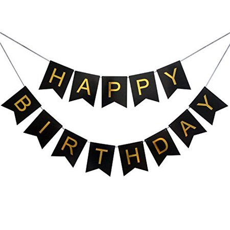 First Birthday Party Food Ideas (LOVELY BITON Large Black Happy Birthday Wall Banner, Black Party Decorations, Versatile, Beautiful, Swallowtail Bunting Flag Garland Surprise)