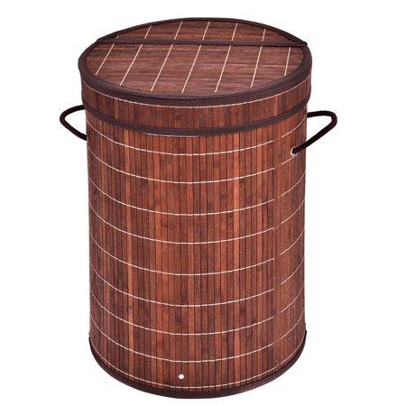 Costway Round Bamboo Hamper Laundry Basket Washing Cloth