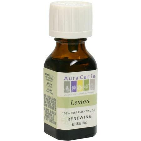 Aura Cacia Lemon Essential Oil .5 Fl oz. boxed