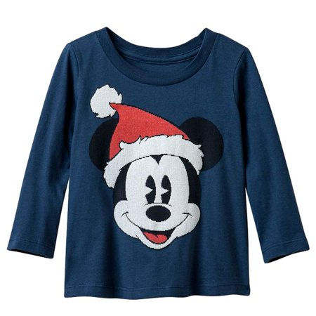 670f0b80e95 Disney - Disney Toddler Boys Blue Mickey Mouse Santa Long Sleeve Shirt  Christmas T-Shirt - Walmart.com