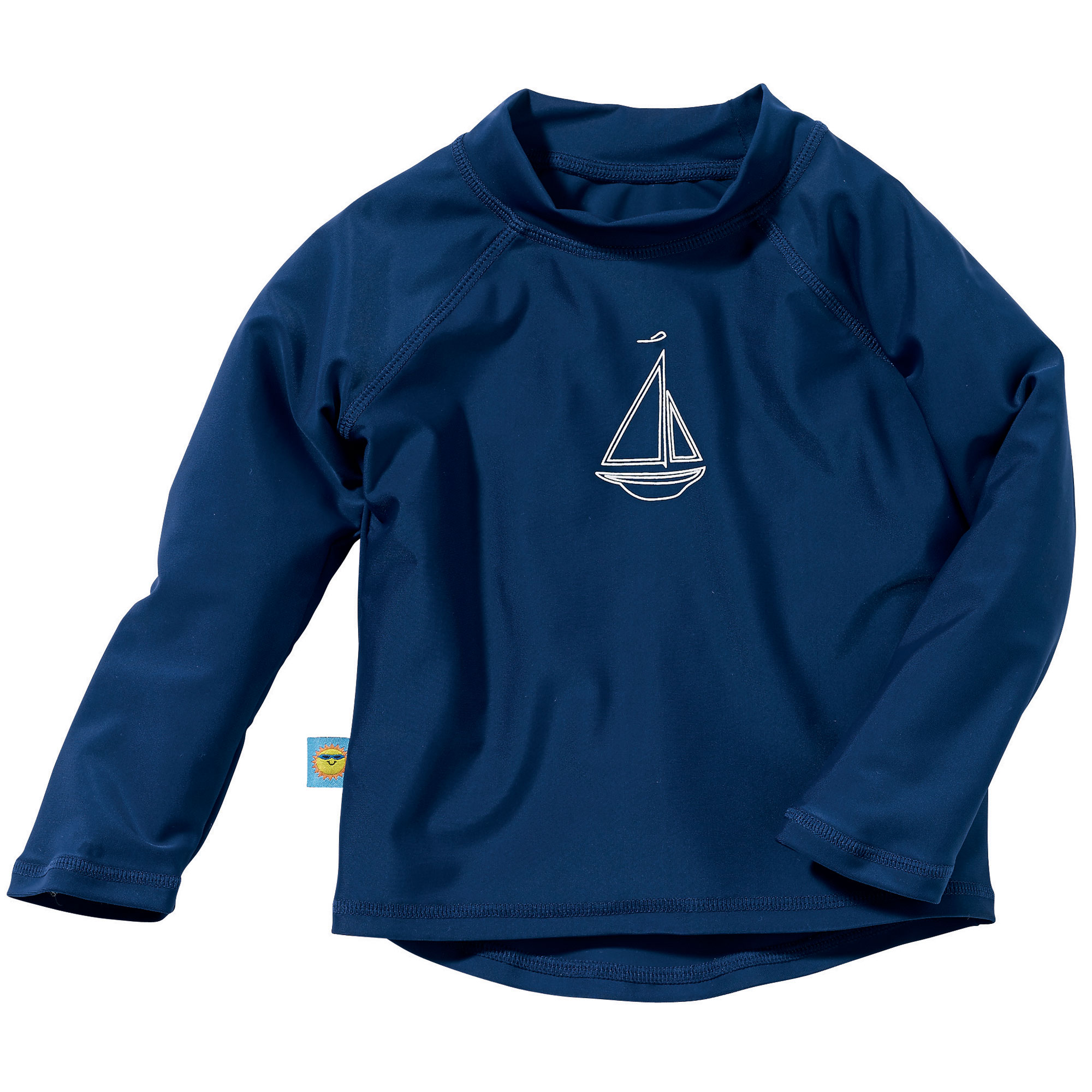 Sun Smarties Baby and Toddler Boy Rashguard - Navy Blue with Sailboat - Long Sleeve