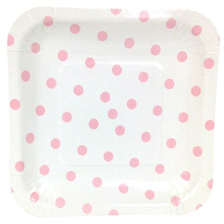 Just Artifacts Square Party Paper Plates (7.25in 12pcs) Baby Pink Polka Dot