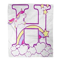 KDAGR Flannel Throw Blanket Initial H Cute Unicorn and Rainbow Baby Birth Announcements Nursery Party Birthday for Children 50x60 Inch Lightweight Cozy Plush Fluffy Warm Fuzzy Soft