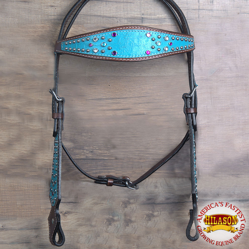 HILASON AMERICAN LEATHER HORSE HEADSTALL BROWN TURQUOISE PURPLE CRYSTAL