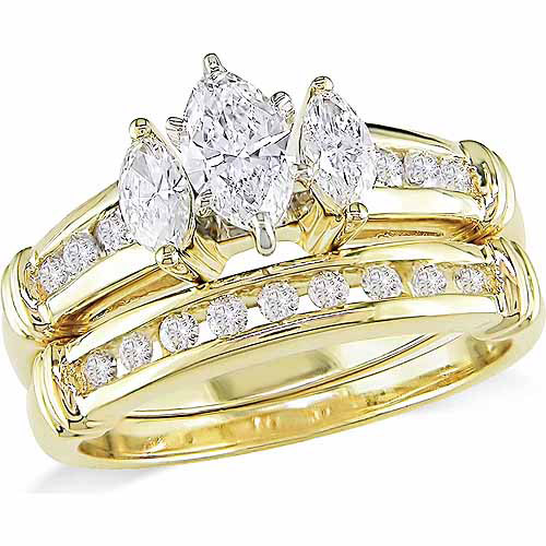 Miabella 1 Carat T.W. Marquise and Round-Cut Diamond 14kt Yellow Gold 3-Stone Bridal Set