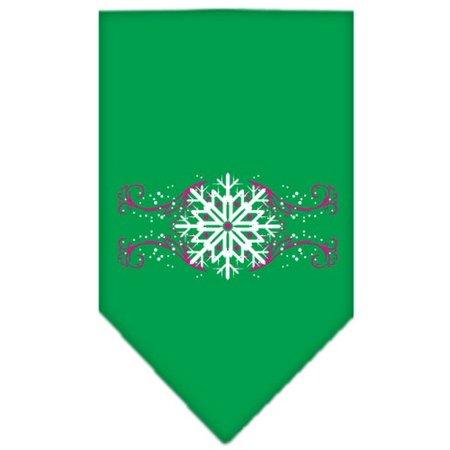 Pink Snowflake Swirls Screen Print Bandana Emerald Green Large - Green Bandanna