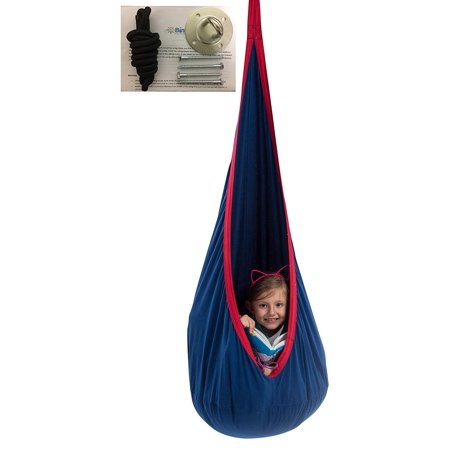 Hammock Hardware - Child Pod Swing - Indoor Sensory Hammock - Including All Hardware Accessories - With A Fluffy Removable Cushion (Not Inflatable Cushion)