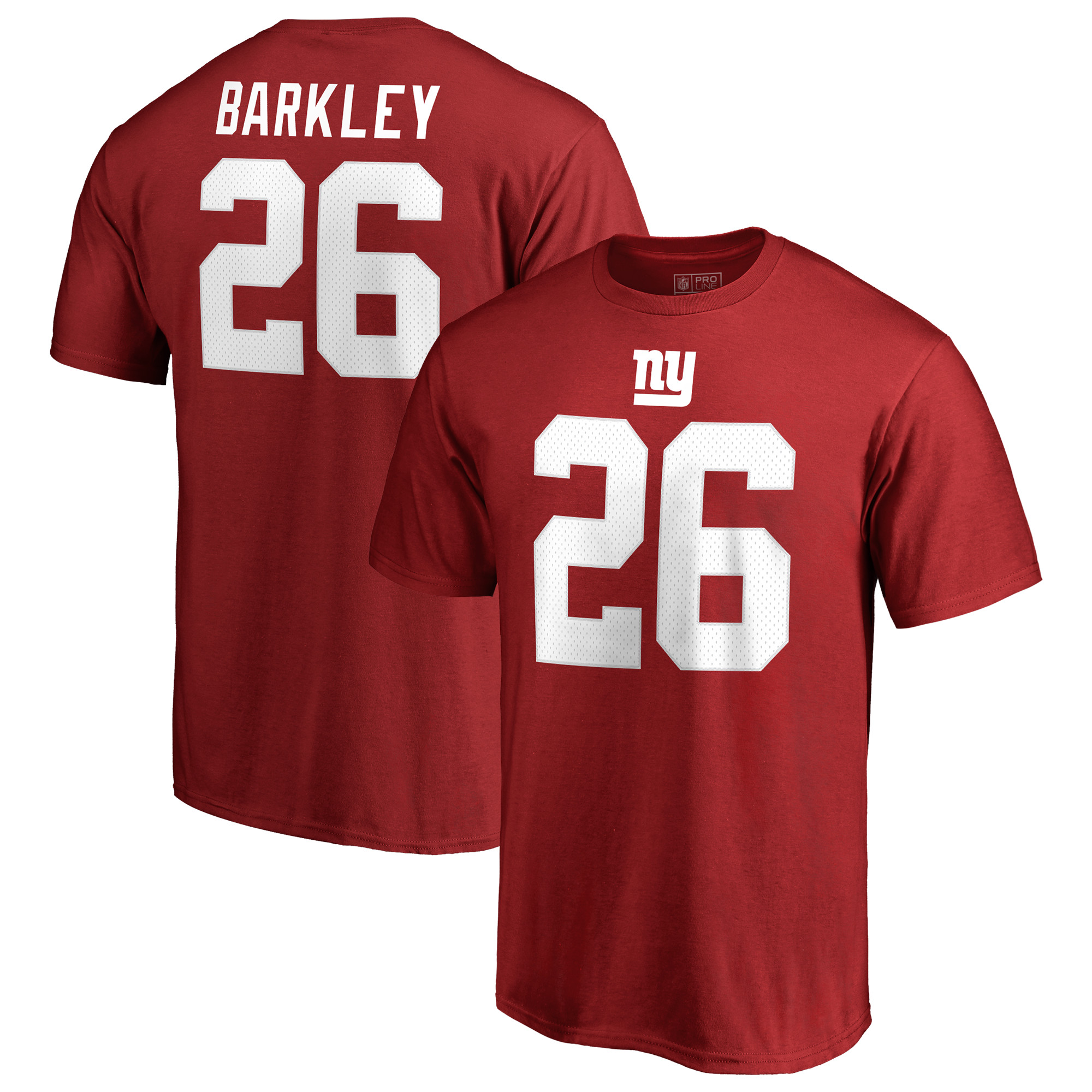 Saquon Barkley New York Giants NFL Pro Line by Fanatics Branded Player Authentic Stack Name & Number T-Shirt - Red