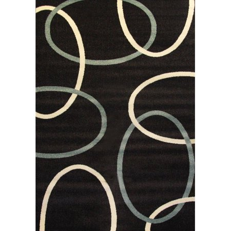 Image of Abacasa Casa Links Chocolate, Aqua, Ivory 5' x 8' Rug
