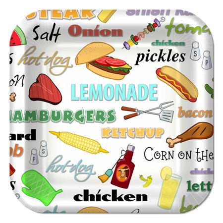 Backyard BBQ Small White Paper Plates (8ct)](Backyard Bbq Party Supplies)