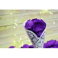 Quasimoon Dark Purple Silk Rose Petals Confetti for Weddings in Bulk by PaperLanternStore