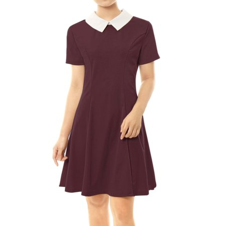 Women Peter Pan Collar Above Knee Fit and Flare Dress Skirt Red L (US 14)](Peter Pan Outfits)