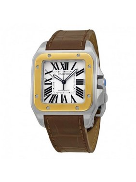 Cartier Men's Santos 100 38mm Brown Leather Band Steel Case Automatic Silver-Tone Dial Watch W20072X7