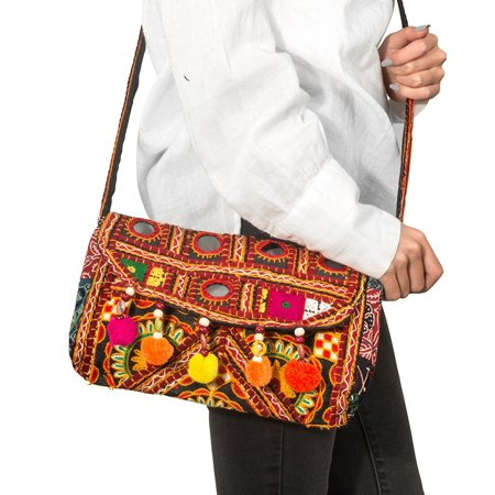 Patchwork Fabric Handbags (Patchwork Quilted Women Crossbody Purse Handbag Satchel Unique Embroidered Hippie Boho Sling)