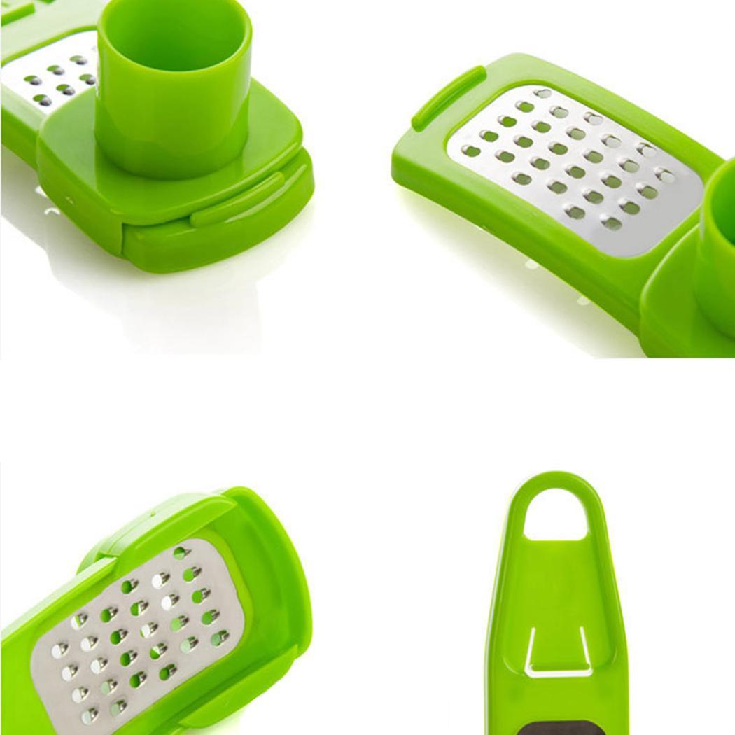 Green Color New 1PC Multi Functional Stainless Steel Slicer Garlic Press Chopper Kitchen Tool MSARTS by