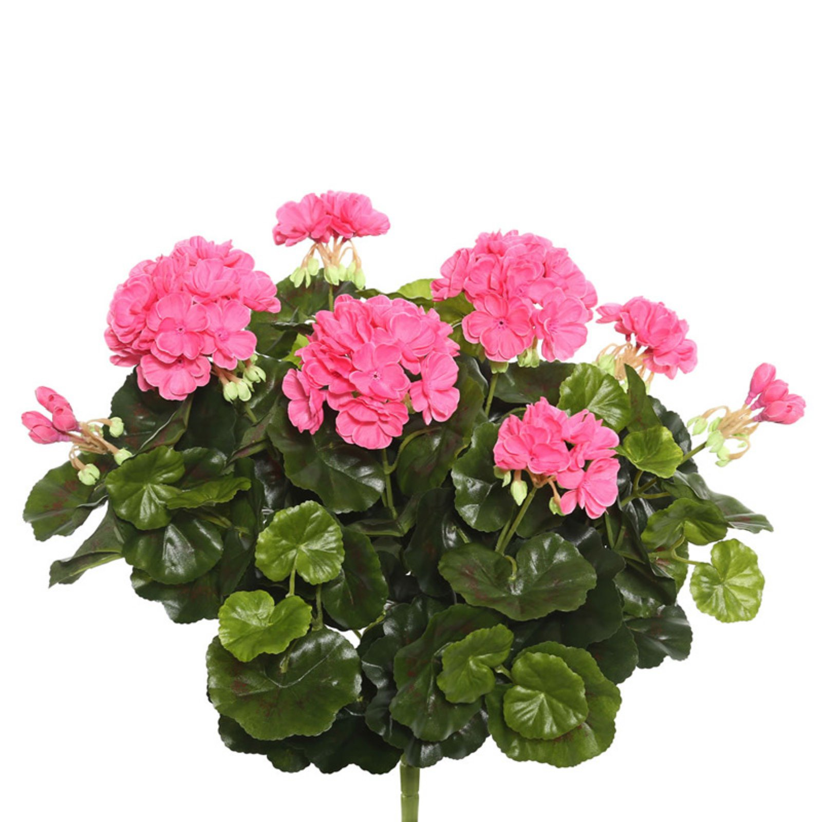 """Vickerman 17.5"""" Pink Polyester Geranium Bush with 96 Leaves and 115 Flowers and Buds"""