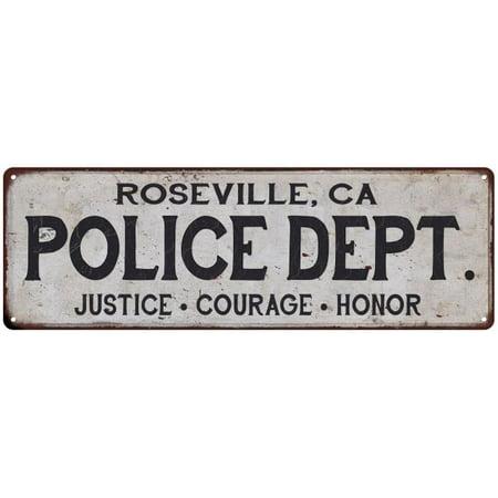 ROSEVILLE, CA POLICE DEPT. Home Decor Metal Sign Gift 6x18 106180012195 (City Of Roseville Ca)