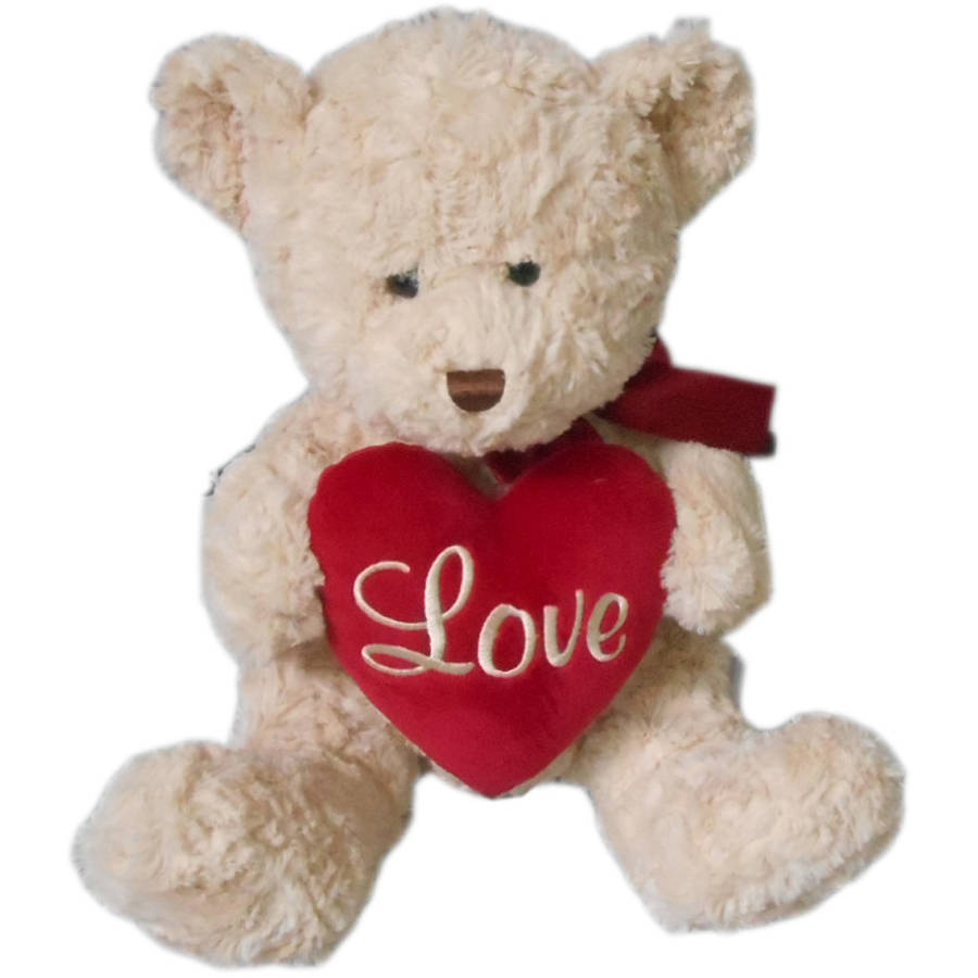 Medium Classic Bear with Heart Plush, Cream