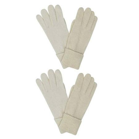 Winter White Ivory Wool Angora Blend 2 Pack Gloves For Women