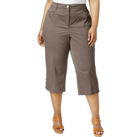 8289325b57258 Karen Scott - Karen Scott Womens Plus Twill Comfort Waist Capri Pants -  Walmart.com