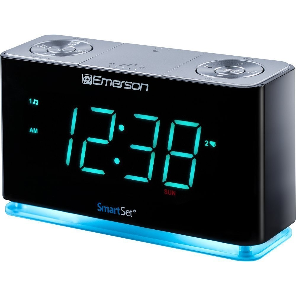 Bedside Alarm Clock Radio, Emerson Bluetooth Home Radio Alarm Clock Modern,  Cyan