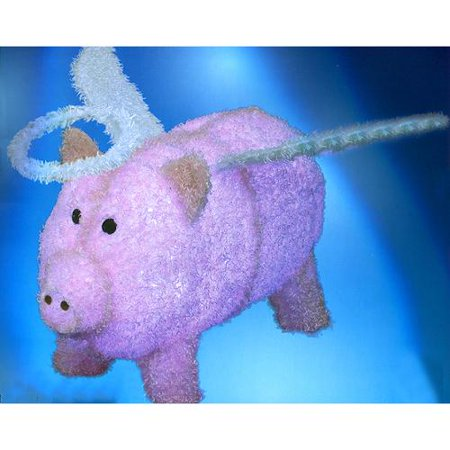 28 pre lit led outdoor pink chenille angel pig christmas outdoor decoration - Pig Christmas Decorations Outdoors