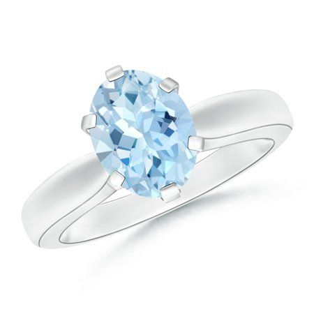 March Birthstone Ring - Tapered Shank Oval Solitaire Aquamarine Ring in Platinum (9x7mm Aquamarine) - SR0148AQ-PT-AAA-9x7-4.5