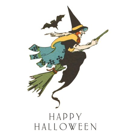 Happy Halloween, Witch and Bat Print Wall Art](Bat Halloween Clip Art)
