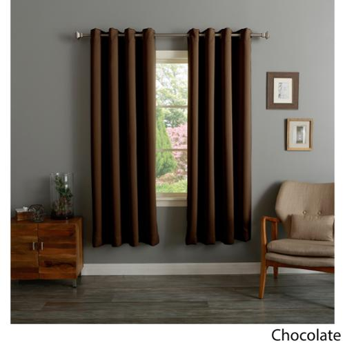Aurora Home Grommet Top Thermal Insulated 72-inch Blackout Curtain Panel Pair Chocolate